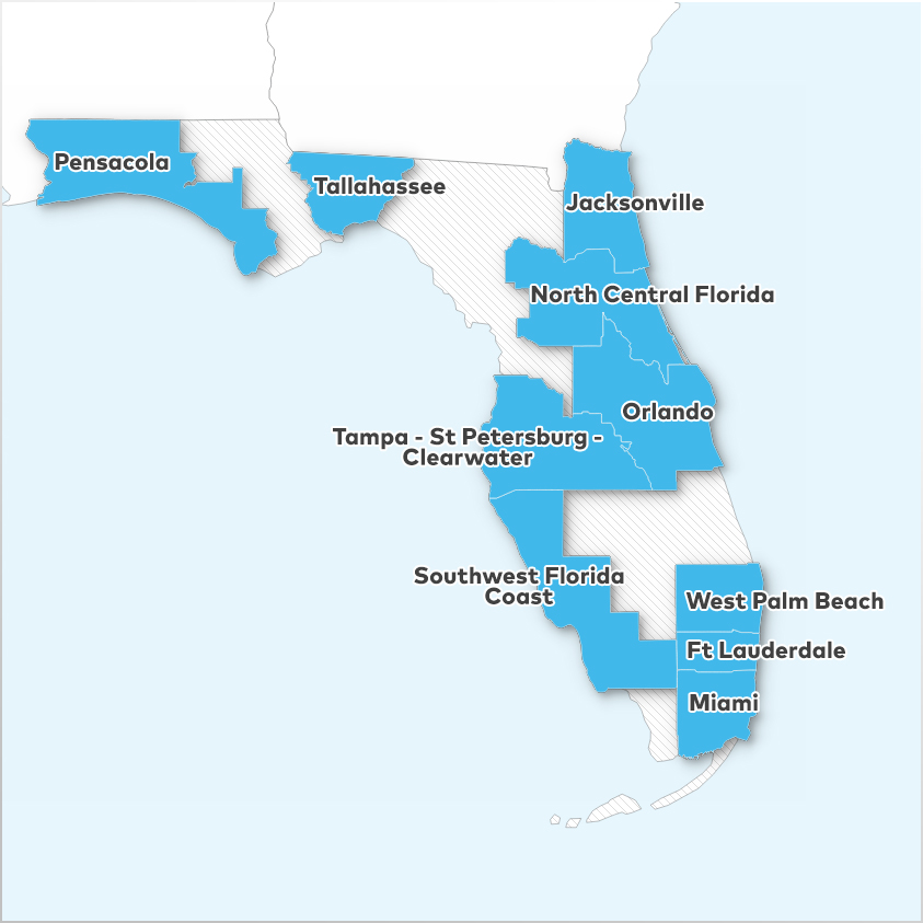 Fort Lauderdale, Jacksonville, Miami, North Central Florida, Orlando, Pensacola, Southwest Florida Coast, Tallahassee, Tampa - St Petersburg - Clearwater,  and West Palm Beach - Boca Raton
