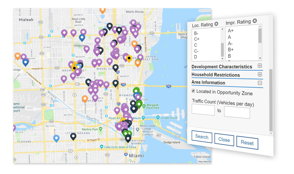Search properties within Opportunity Zones